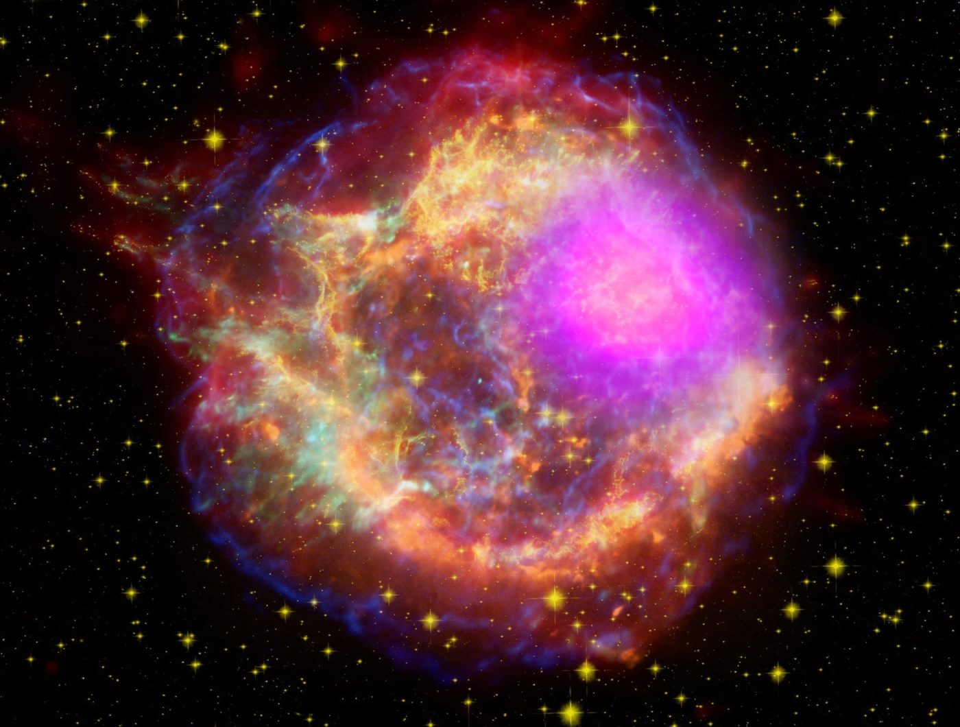Image credit: NASA/DOE/Fermi LAT Collaboration, CXC/SAO/JPL-Caltech/Steward/O. Krause et al., and NRAO/AUI